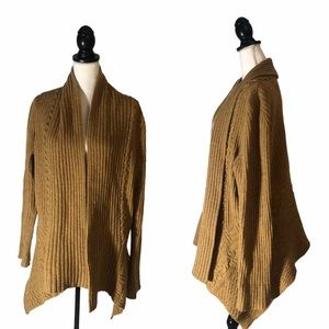 CANARY Anthropologie Ribbed Wool Mustard Cardigan